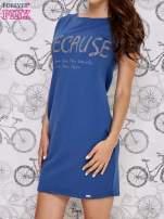 Granatowa sukienka dresowa z napisem BECAUSE                                                                          zdj.                                                                         3
