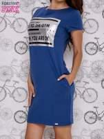 Granatowa sukienka dresowa z napisem GO TO THE GYM                                  zdj.                                  3