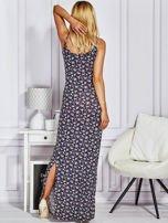 Granatowa sukienka maxi na ramiączkach w łączkę                                  zdj.                                  3