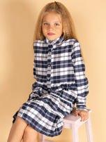 Granatowa sukienka w kratę dla dziewczynki                                  zdj.                                  4