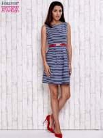 Granatowa sukienka w marynarskim stylu z paskiem                                  zdj.                                  2