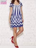 Granatowa sukienka w paski z bufiastymi rękawkami                                  zdj.                                  2