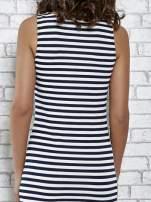 Granatowa sukienka w paski z rozcięciami                                   zdj.                                  7