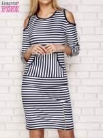 Granatowa sukienka w paski z wycięciami na ramionach                                  zdj.                                  1