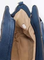 Granatowa torba z klamrami z odpinanym paskiem                                  zdj.                                  9