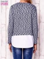 Granatowa warstwowa bluzka z koszulą
