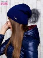 Granatowa wełniana czapka z futrzanym pomponem                                   zdj.                                  2