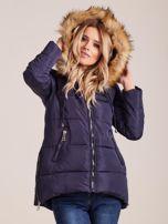 Granatowa zimowa kurtka z futerkiem                                  zdj.                                  5