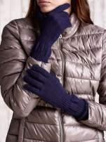Czerwone długie rękawiczki z przeszywanym ściągaczem                                                                          zdj.                                                                         1