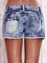 Granatowe jeansowe szorty z jaśniejszymi wstawkami                                  zdj.                                  2