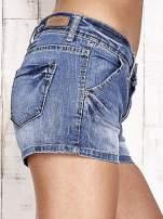 Granatowe jeansowe szorty z przetarciami                                  zdj.                                  6