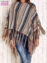 Granatowe poncho w etniczne wzory z frędzlami