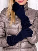 Granatowe rękawiczki z marszczonym mankietem                                  zdj.                                  1