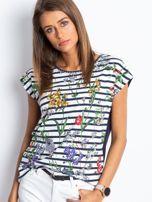 Granatowo-biały t-shirt Definitive                                  zdj.                                  4
