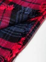 Granatowo-czerwony szalik damski w kratę                                  zdj.                                  11