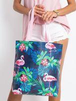Granatowo-różowa torba z nadrukiem                                  zdj.                                  1