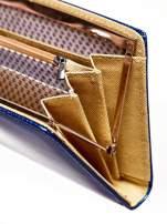 Granatowy portfel z motywem skóry węża z biglem
