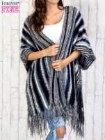Granatowy sweter poncho z frędzlami                                                                           zdj.                                                                         1
