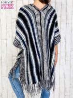 Granatowy sweter poncho z frędzlami                                                                           zdj.                                                                         5