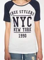 Granatowy t-shirt NEW YORK 1990  w stylu collage