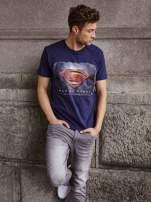 Granatowy t-shirt męski MAN OF STEEL                                  zdj.                                  12
