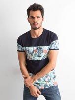 Granatowy t-shirt męski z motywem roślinnym                                  zdj.                                  1