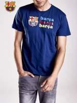 Granatowy t-shirt męski z nadrukiem FC BARCELONA                                  zdj.                                  5