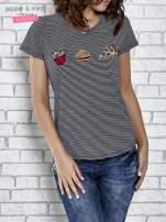 Granatowy t-shirt z motywem fast food                                                                          zdj.                                                                         1