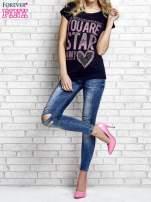 Granatowy t-shirt z napisem YOU ARE STAR IN MY HEART z dżetami                                  zdj.                                  4