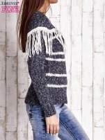Granatowy wełniany sweter z frędzlami                                  zdj.                                  3