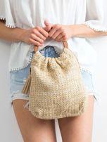 Jasnobeżowa mała torebka pleciona do ręki                                  zdj.                                  3