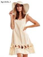 Jasnobeżowa sukienka z kokardkami BY O LA LA                                   zdj.                                  1