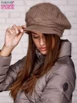 Jasnobrązowa dziergana czapka z daszkiem                                   zdj.                                  2