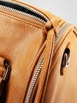 Jasnobrązowa torba bowling z suwakami                                  zdj.                                  8
