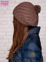 Jasnobrązowa wełniana czapka z pomponem                                  zdj.                                  2