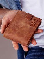 Jasnobrązowy portfel męski ze skóry zapinany na zatrzask                                  zdj.                                  1