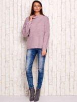 Jasnofioletowy włochaty sweter z półgolfem                                  zdj.                                  4