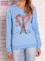 Jasnoniebieska bluza z motywem paryskim