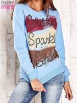 Jasnoniebieska bluza z napisem GLITTER SPARKLE SHINE                                                                          zdj.                                                                         1
