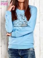 Ecru bluza z tekstowym nadrukiem                                                                          zdj.                                                                         1