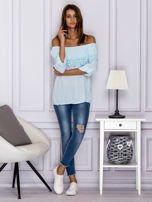 Jasnoniebieska bluzka hiszpanka z koronkową lamówką                                  zdj.                                  4