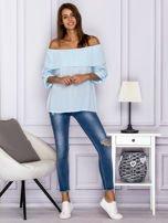 Jasnoniebieska bluzka hiszpanka z podwijanymi rękawami                                  zdj.                                  4