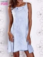 Jasnoniebieska rozkloszowana dekatyzowana sukienka                                  zdj.                                  1
