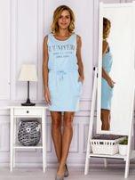 Jasnoniebieska sukienka z troczkami                                  zdj.                                  4