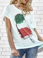 Jasnoniebieski t-shirt z lodowym nadrukiem Funk n Soul                                  zdj.                                  5