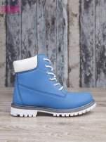 Jasnoniebieskie buty trekkingowe damskie traperki ocieplane                                                                          zdj.                                                                         1