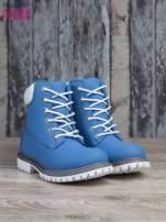 Jasnoniebieskie buty trekkingowe damskie traperki ocieplane                                                                          zdj.                                                                         3
