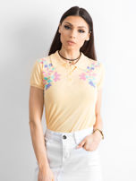 Jasnopomarańczowa koszulka polo w kwiaty                                  zdj.                                  1