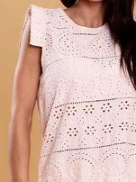 Jasnoróżowa bluzka w ażurowe wzory                                  zdj.                                  5
