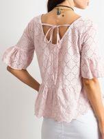 Jasnoróżowa haftowana bluzka z falbaną                                  zdj.                                  2